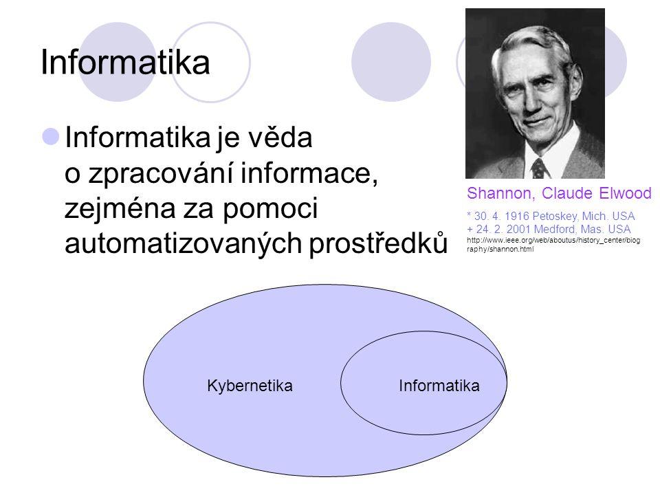Informatika Informatika je věda o zpracování informace, zejména za pomoci automatizovaných prostředků Shannon, Claude Elwood * 30. 4. 1916 Petoskey, M