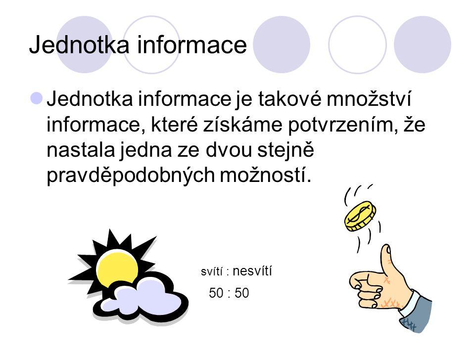 Jednotka informace Jednotka informace je takové množství informace, které získáme potvrzením, že nastala jedna ze dvou stejně pravděpodobných možností.