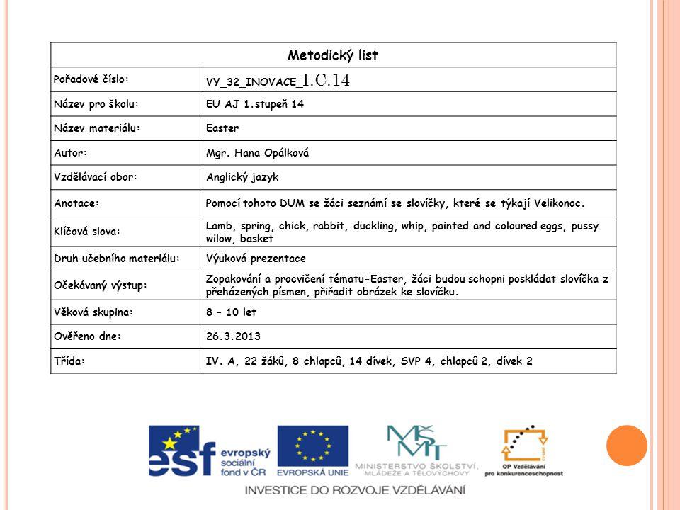 Metodický list Pořadové číslo: VY_32_INOVACE_ I.C.14 Název pro školu:EU AJ 1.stupeň 14 Název materiálu:Easter Autor:Mgr.