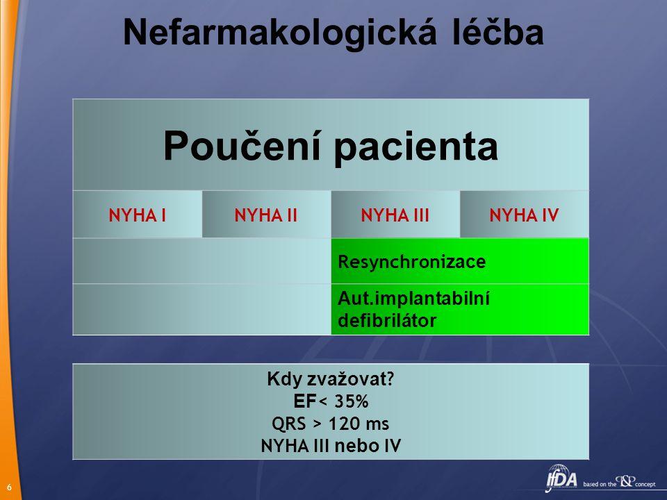 6 Nefarmakologická léčba Poučení pacienta NYHA INYHA IINYHA IIINYHA IV Resynchroni zace Aut.implantabilní defibrilátor Kdy zvažovat ? EF < 35% QRS > 1