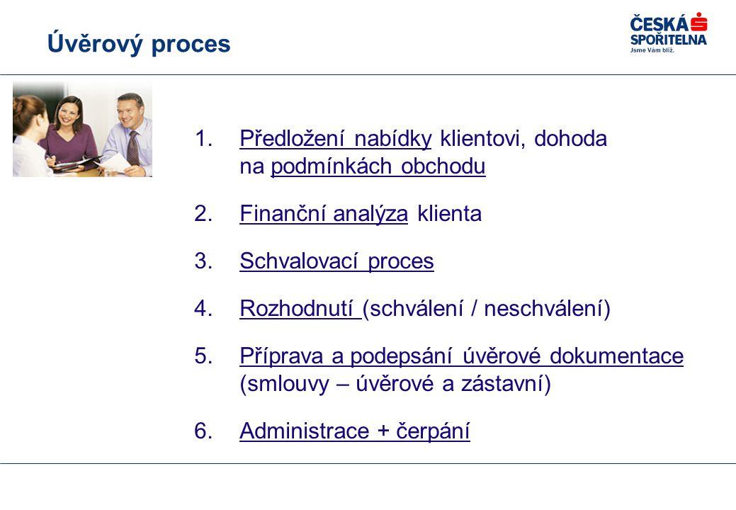 Úvěrový proces 1.Předložení nabídky klientovi, dohoda na podmínkách obchodu 2.Finanční analýza klienta 3.Schvalovací proces 4.Rozhodnutí (schválení / neschválení) 5.Příprava a podepsání úvěrové dokumentace (smlouvy – úvěrové a zástavní) 6.Administrace + čerpání