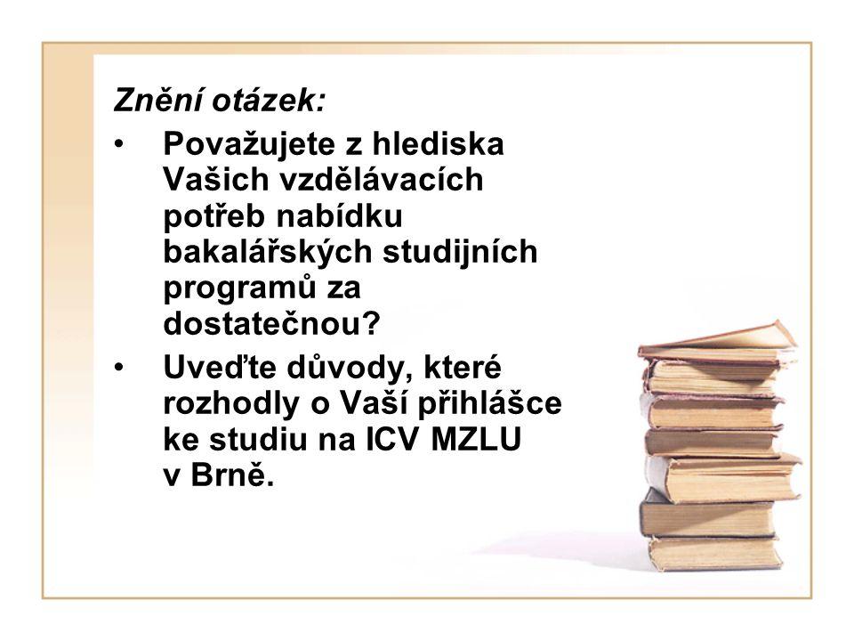Znění otázek: Považujete z hlediska Vašich vzdělávacích potřeb nabídku bakalářských studijních programů za dostatečnou.
