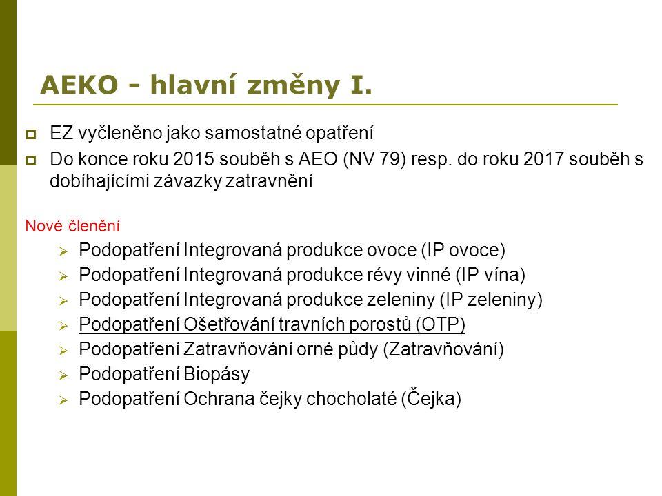 AEKO - hlavní změny I.  EZ vyčleněno jako samostatné opatření  Do konce roku 2015 souběh s AEO (NV 79) resp. do roku 2017 souběh s dobíhajícími záva