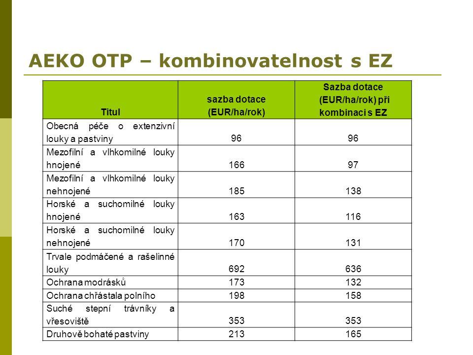 AEKO OTP – kombinovatelnost s EZ Titul sazba dotace (EUR/ha/rok) Sazba dotace (EUR/ha/rok) při kombinaci s EZ Obecná péče o extenzivní louky a pastvin