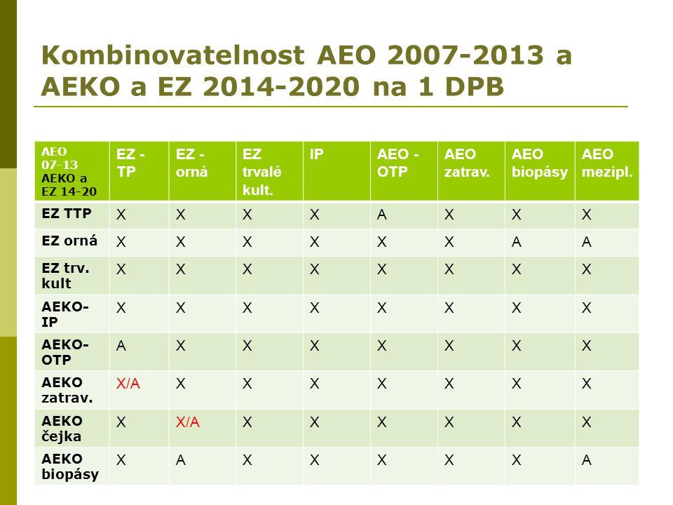 Kombinovatelnost AEO 2007-2013 a AEKO a EZ 2014-2020 na 1 DPB AEO 07-13 AEKO a EZ 14-20 EZ - TP EZ - orná EZ trvalé kult. IPAEO - OTP AEO zatrav. AEO