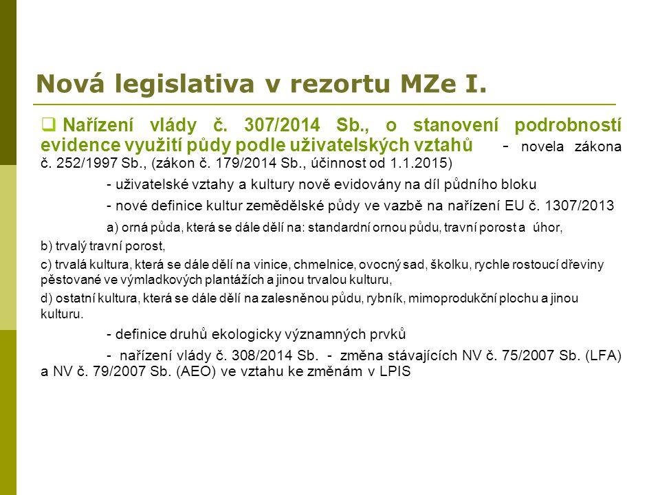 Nová legislativa v rezortu MZe I.  Nařízení vlády č. 307/2014 Sb., o stanovení podrobností evidence využití půdy podle uživatelských vztahů - novela