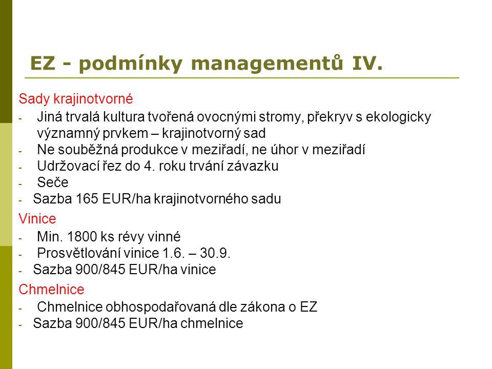 EZ - podmínky managementů IV. Sady krajinotvorné - Jiná trvalá kultura tvořená ovocnými stromy, překryv s ekologicky významný prvkem – krajinotvorný s