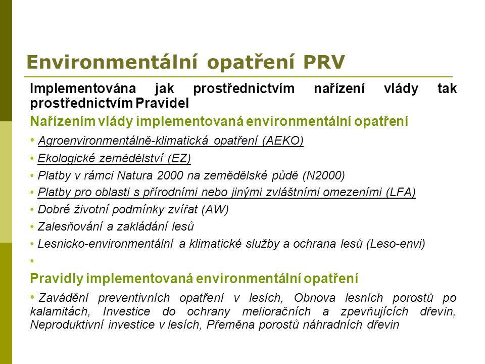 Environmentální opatření PRV Implementována jak prostřednictvím nařízení vlády tak prostřednictvím Pravidel Nařízením vlády implementovaná environment