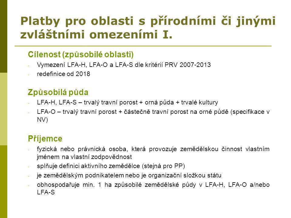 Platby pro oblasti s přírodními či jinými zvláštními omezeními I. Cílenost (způsobilé oblasti) - Vymezení LFA-H, LFA-O a LFA-S dle kritérií PRV 2007-2