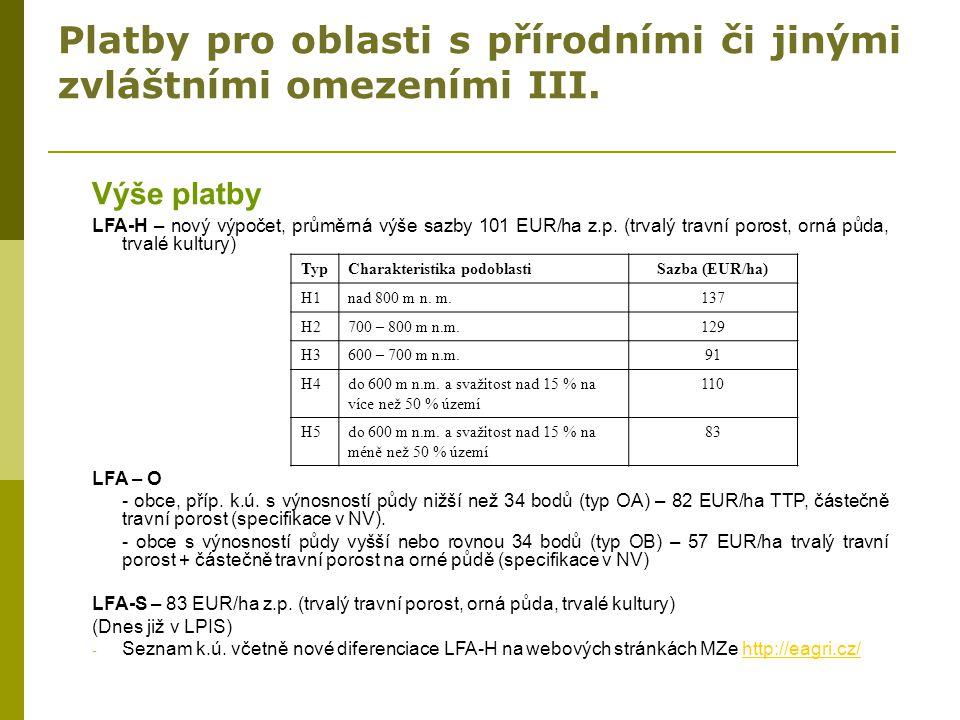Platby pro oblasti s přírodními či jinými zvláštními omezeními III. Výše platby LFA-H – nový výpočet, průměrná výše sazby 101 EUR/ha z.p. (trvalý trav