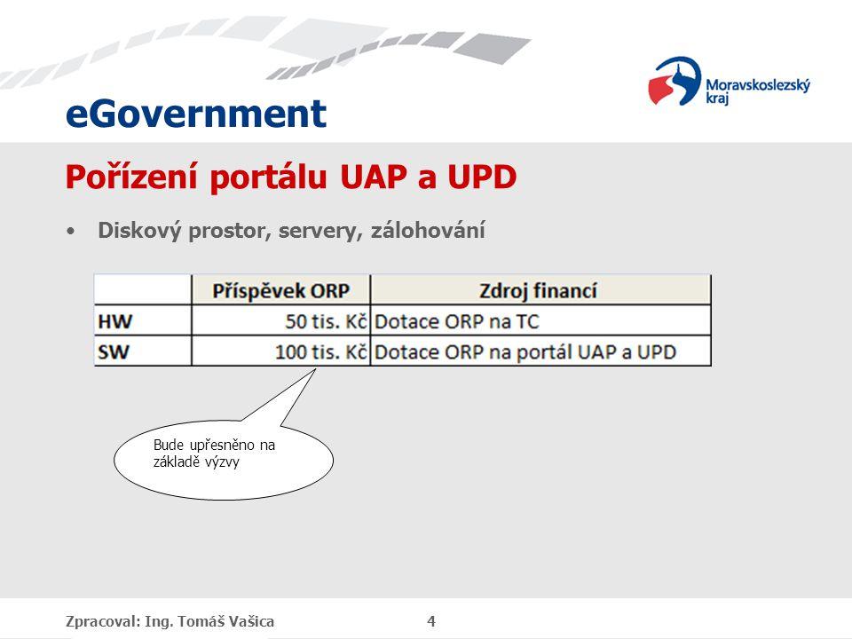 eGovernment Pořízení portálu UAP a UPD Diskový prostor, servery, zálohování Zpracoval: Ing.
