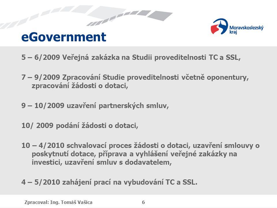 eGovernment 5 – 6/2009 Veřejná zakázka na Studii proveditelnosti TC a SSL, 7 – 9/2009 Zpracování Studie proveditelnosti včetně oponentury, zpracování žádosti o dotaci, 9 – 10/2009 uzavření partnerských smluv, 10/ 2009 podání žádosti o dotaci, 10 – 4/2010 schvalovací proces žádosti o dotaci, uzavření smlouvy o poskytnutí dotace, příprava a vyhlášení veřejné zakázky na investici, uzavření smluv s dodavatelem, 4 – 5/2010 zahájení prací na vybudování TC a SSL.
