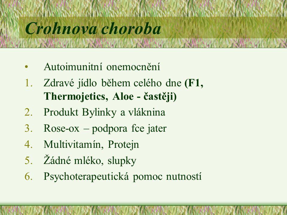 Crohnova choroba Autoimunitní onemocnění 1.Zdravé jídlo během celého dne (F1, Thermojetics, Aloe - častěji) 2.Produkt Bylinky a vláknina 3.Rose-ox – p