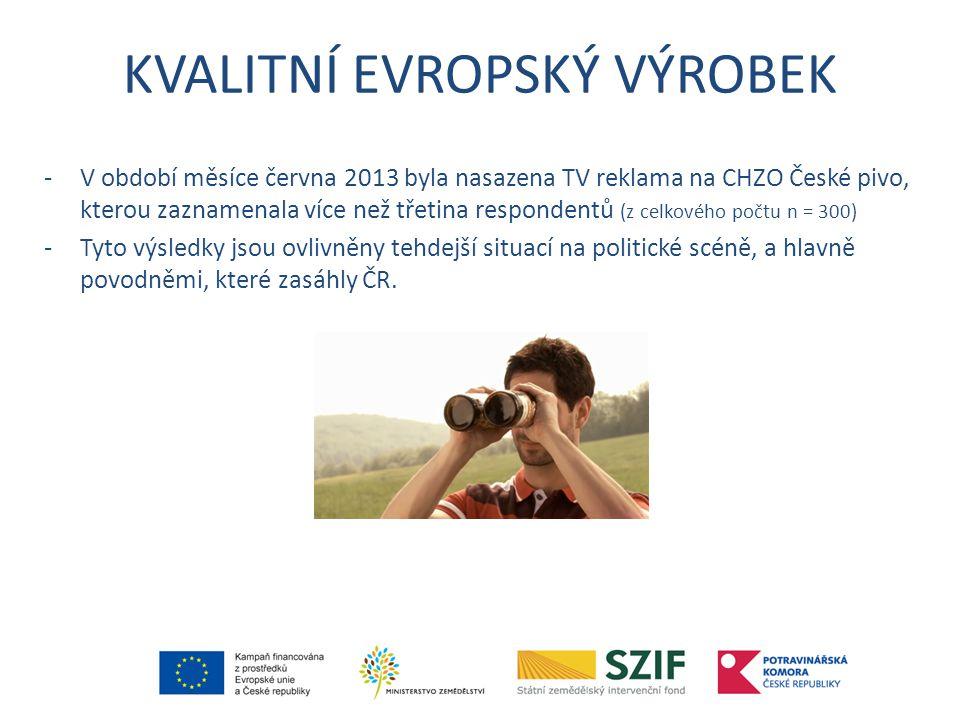 KVALITNÍ EVROPSKÝ VÝROBEK -V období měsíce června 2013 byla nasazena TV reklama na CHZO České pivo, kterou zaznamenala více než třetina respondentů (z celkového počtu n = 300) -Tyto výsledky jsou ovlivněny tehdejší situací na politické scéně, a hlavně povodněmi, které zasáhly ČR.