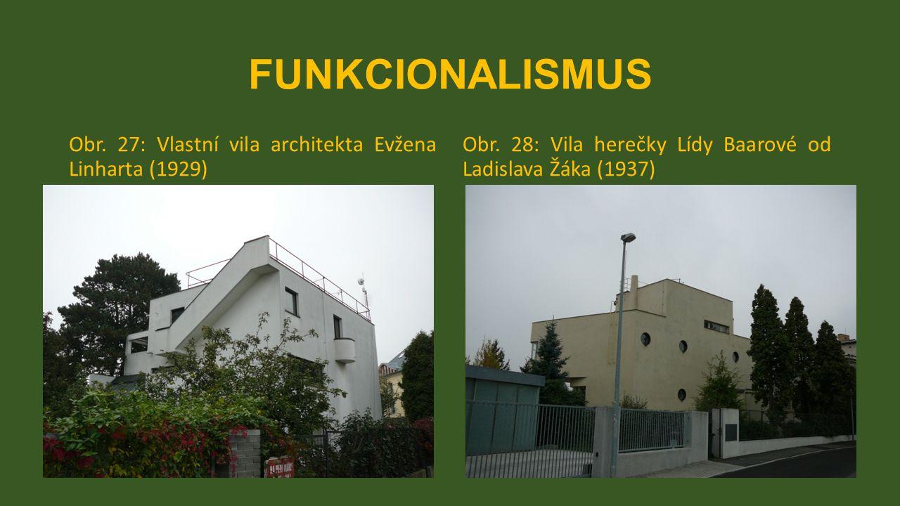 FUNKCIONALISMUS Obr. 27: Vlastní vila architekta Evžena Linharta (1929) Obr. 28: Vila herečky Lídy Baarové od Ladislava Žáka (1937)
