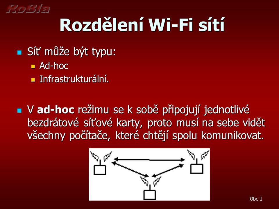 Rozdělení Wi-Fi sítí Rozdělení Wi-Fi sítí Infrastrukturální režim je podobný hvězdicové topologii u drátových sítí, místo hubu se používá AP - Access Point ke kterému se připojují všechny stanice.
