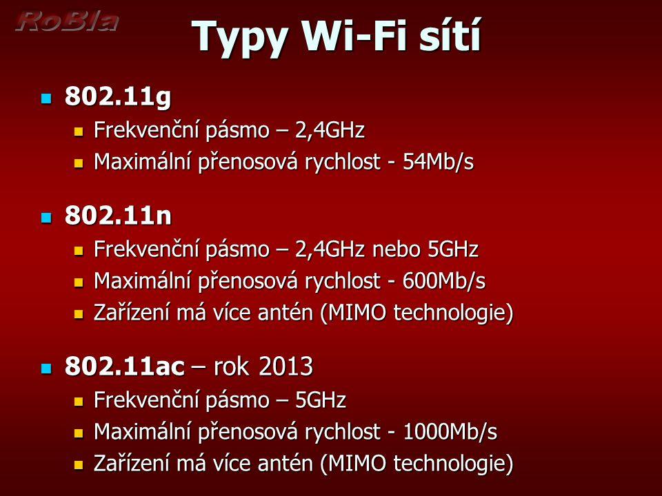 Typy Wi-Fi sítí Typy Wi-Fi sítí 802.11g 802.11g Frekvenční pásmo – 2,4GHz Frekvenční pásmo – 2,4GHz Maximální přenosová rychlost - 54Mb/s Maximální př