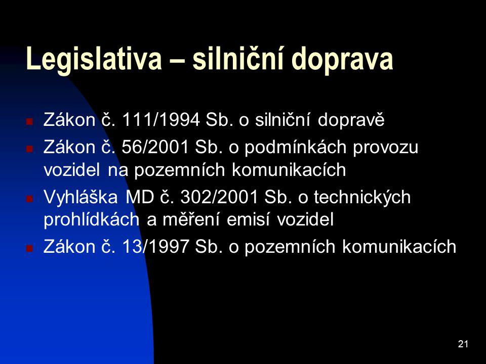 21 Legislativa – silniční doprava Zákon č. 111/1994 Sb.