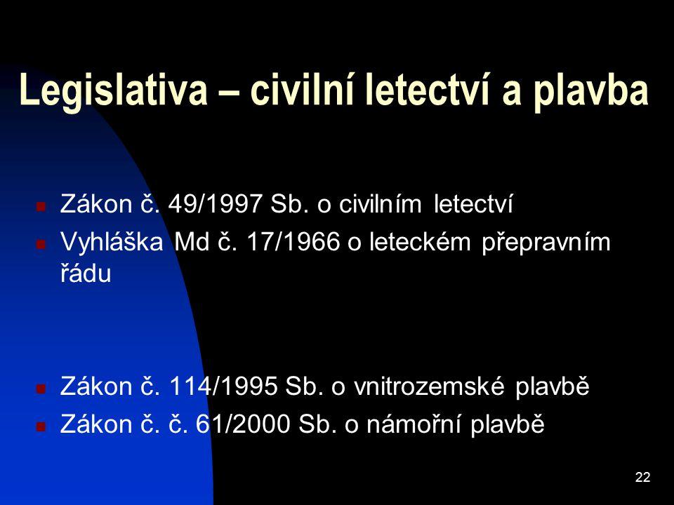 22 Legislativa – civilní letectví a plavba Zákon č.