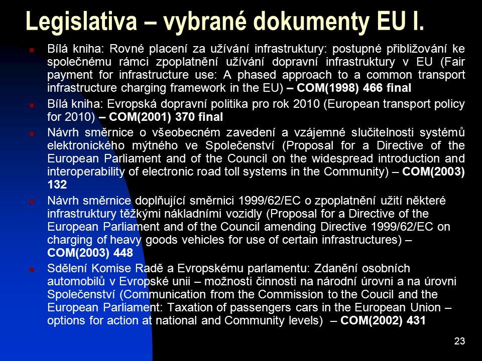 23 Legislativa – vybrané dokumenty EU I.