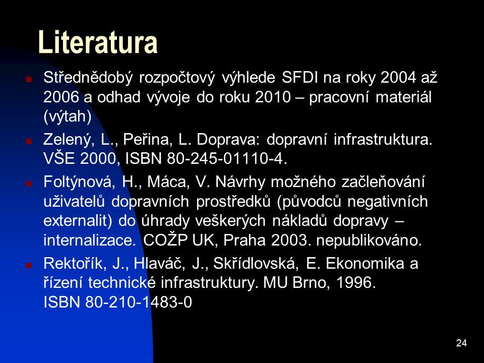 24 Literatura Střednědobý rozpočtový výhlede SFDI na roky 2004 až 2006 a odhad vývoje do roku 2010 – pracovní materiál (výtah) Zelený, L., Peřina, L.