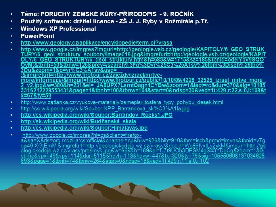 Téma: PORUCHY ZEMSKÉ KŮRY-PŘÍRODOPIS - 9. ROČNÍK Použitý software: držitel licence - ZŠ J. J. Ryby v Rožmitále p.Tř. Windows XP Professional PowerPoin