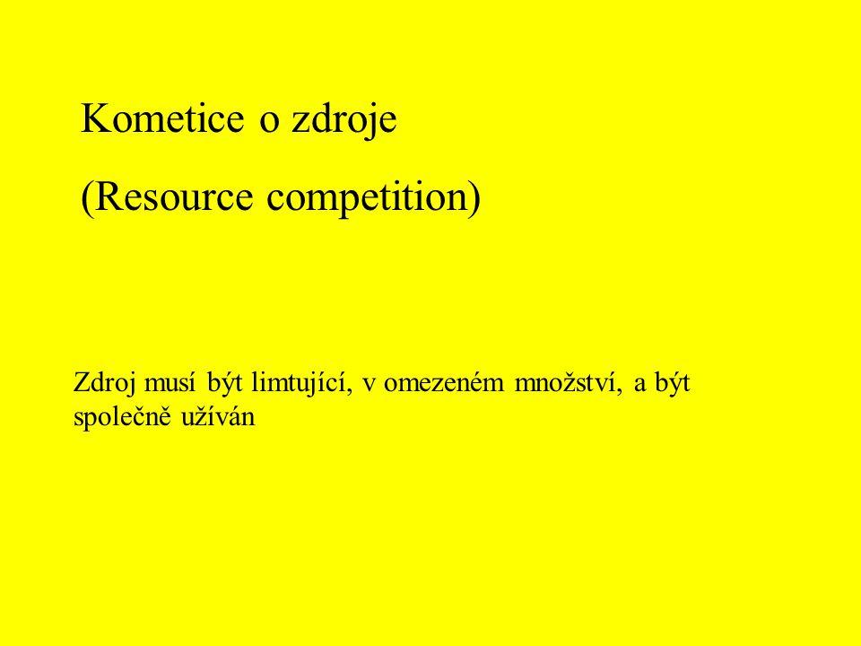 Kometice o zdroje (Resource competition) Zdroj musí být limtující, v omezeném množství, a být společně užíván