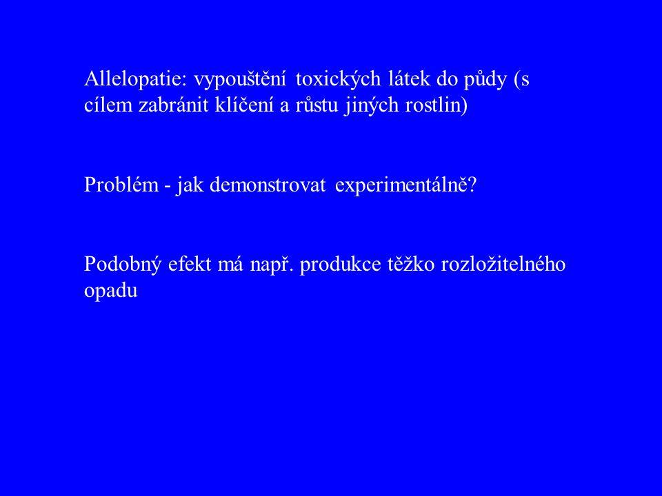 Allelopatie: vypouštění toxických látek do půdy (s cílem zabránit klíčení a růstu jiných rostlin) Problém - jak demonstrovat experimentálně.