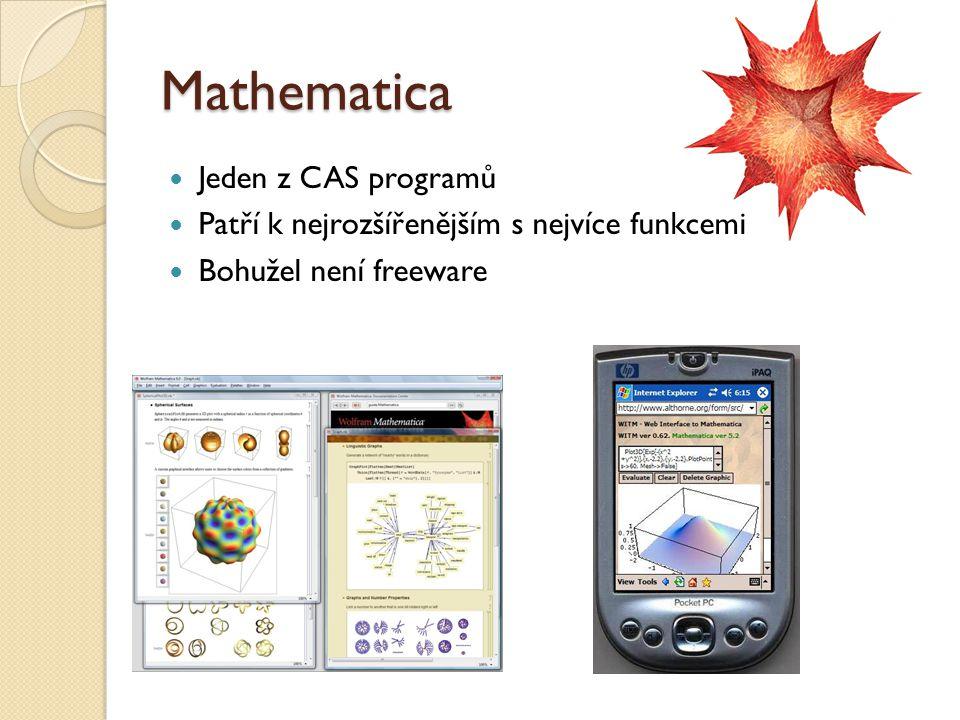Mathematica Jeden z CAS programů Patří k nejrozšířenějším s nejvíce funkcemi Bohužel není freeware