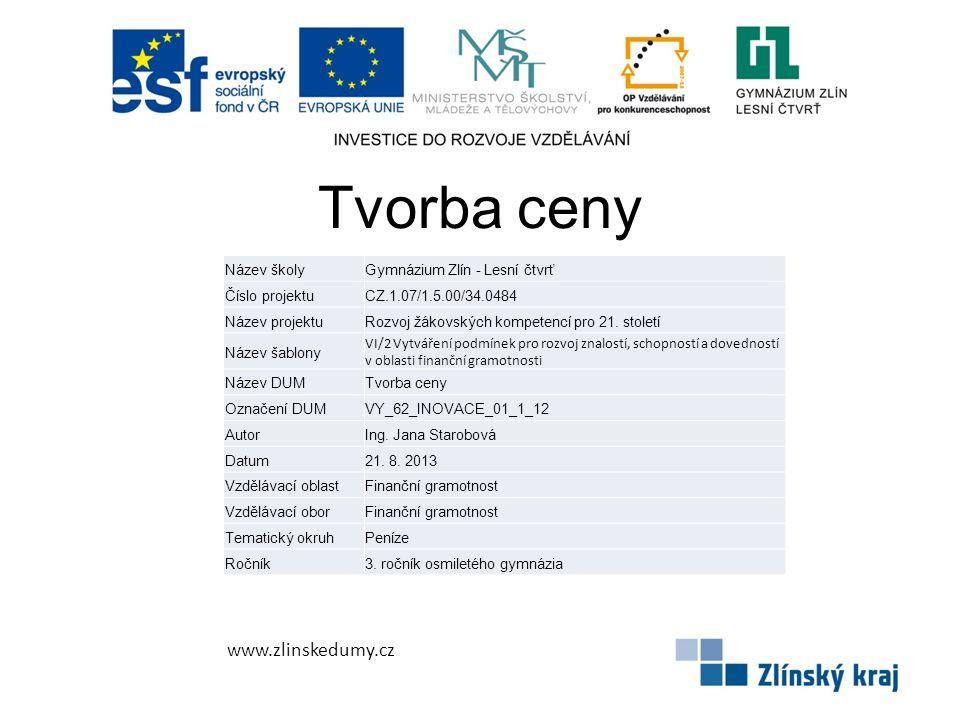 Tvorba ceny www.zlinskedumy.cz Název školyGymnázium Zlín - Lesní čtvrť Číslo projektuCZ.1.07/1.5.00/34.0484 Název projektuRozvoj žákovských kompetencí pro 21.