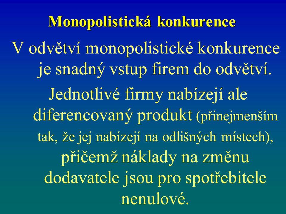 Monopolistická konkurence V odvětví monopolistické konkurence je snadný vstup firem do odvětví. Jednotlivé firmy nabízejí ale diferencovaný produkt (p