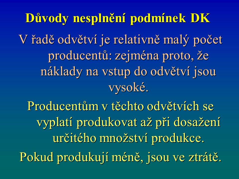 Důvody nesplnění podmínek DK V řadě odvětví je relativně malý počet producentů: zejména proto, že náklady na vstup do odvětví jsou vysoké. Producentům