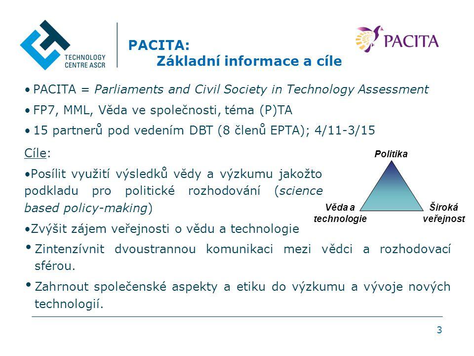 3 PACITA: Základní informace a cíle Cíle: Posílit využití výsledků vědy a výzkumu jakožto podkladu pro politické rozhodování (science based policy-mak