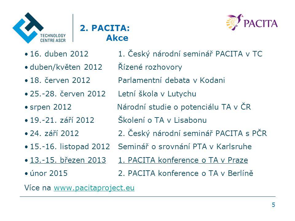 5 2. PACITA: Akce 16. duben 2012 1. Český národní seminář PACITA v TC duben/květen 2012 Řízené rozhovory 18. červen 2012 Parlamentní debata v Kodani 2
