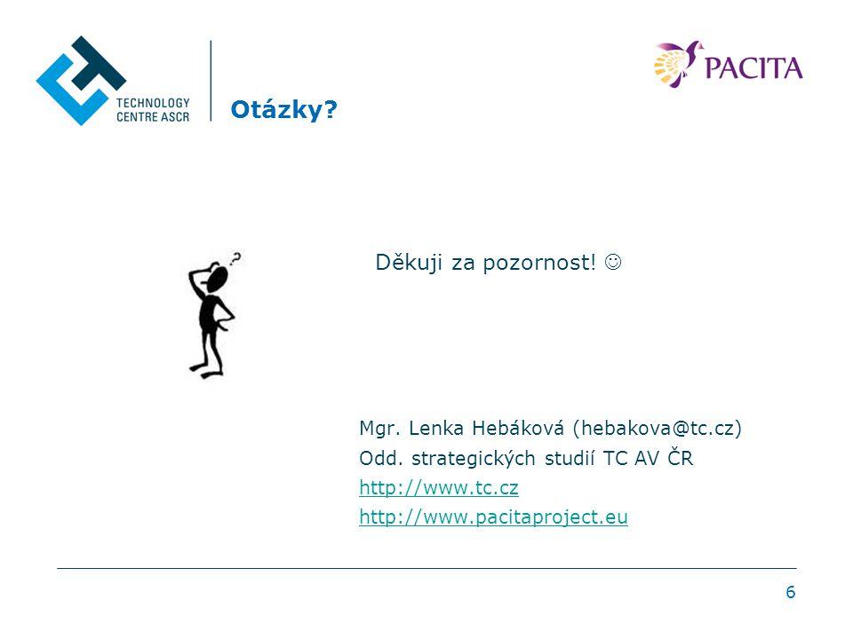 6 Otázky? Mgr. Lenka Hebáková (hebakova@tc.cz) Odd. strategických studií TC AV ČR http://www.tc.cz http://www.pacitaproject.eu Děkuji za pozornost!