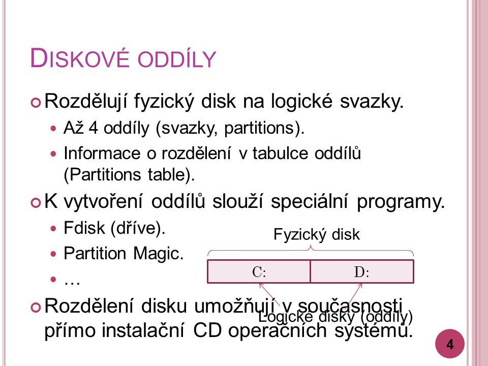D ISKOVÉ ODDÍLY Rozdělují fyzický disk na logické svazky. Až 4 oddíly (svazky, partitions). Informace o rozdělení v tabulce oddílů (Partitions table).