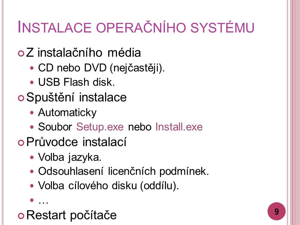 I NSTALACE OPERAČNÍHO SYSTÉMU Z instalačního média CD nebo DVD (nejčastěji). USB Flash disk. Spuštění instalace Automaticky Soubor Setup.exe nebo Inst