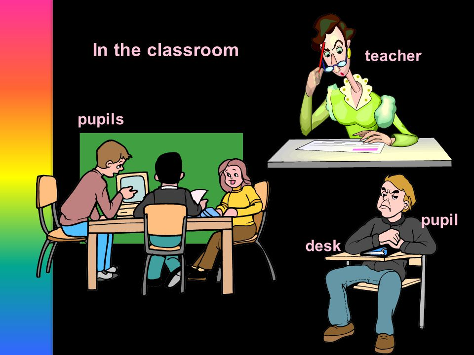 In the classroom pupils teacher desk pupil