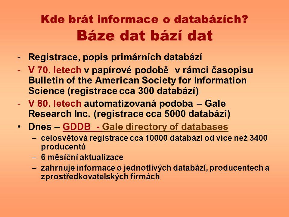 Kde brát informace o databázích? Báze dat bází dat -Registrace, popis primárních databází -V 70. letech v papírové podobě v rámci časopisu Bulletin of