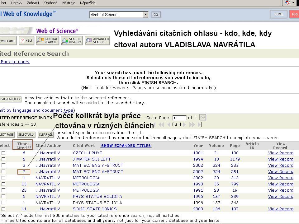 Počet kolikrát byla práce citována v různých článcích Vyhledávání citačních ohlasů - kdo, kde, kdy citoval autora VLADISLAVA NAVRÁTILA