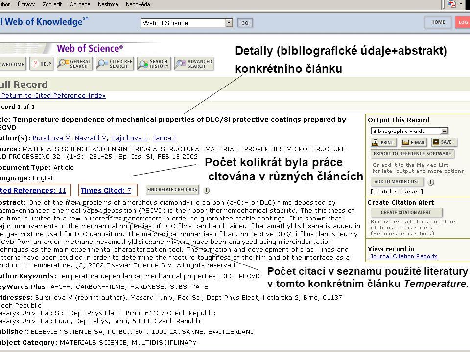 Detaily (bibliografické údaje+abstrakt) konkrétního článku Počet kolikrát byla práce citována v různých článcích Počet citací v seznamu použité litera