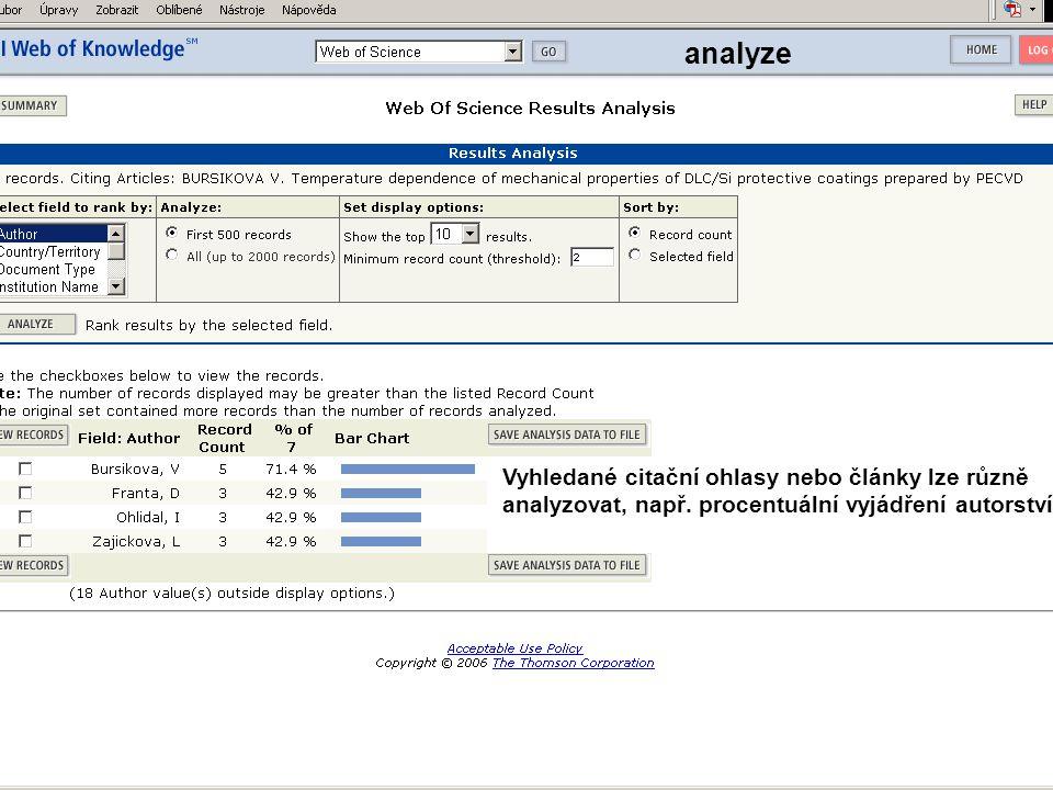 analyze Vyhledané citační ohlasy nebo články lze různě analyzovat, např. procentuální vyjádření autorství