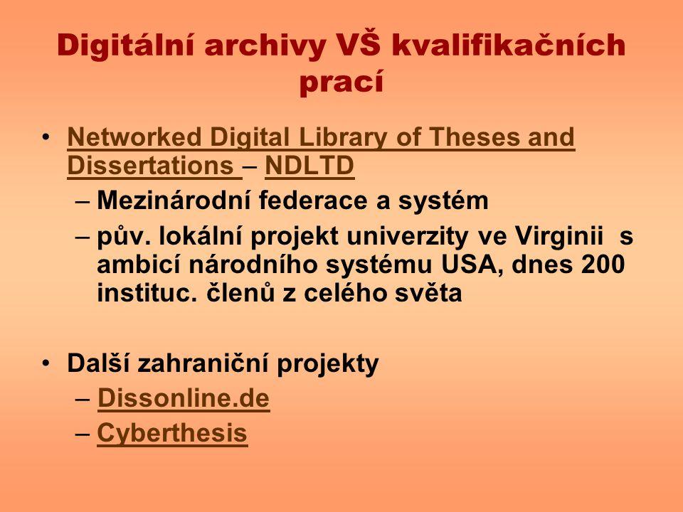 Digitální archivy VŠ kvalifikačních prací Networked Digital Library of Theses and Dissertations – NDLTDNetworked Digital Library of Theses and Dissert