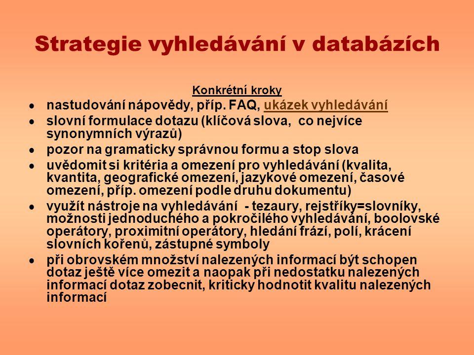 Strategie vyhledávání v databázích Konkrétní kroky  nastudování nápovědy, příp. FAQ, ukázek vyhledáváníukázek vyhledávání  slovní formulace dotazu (