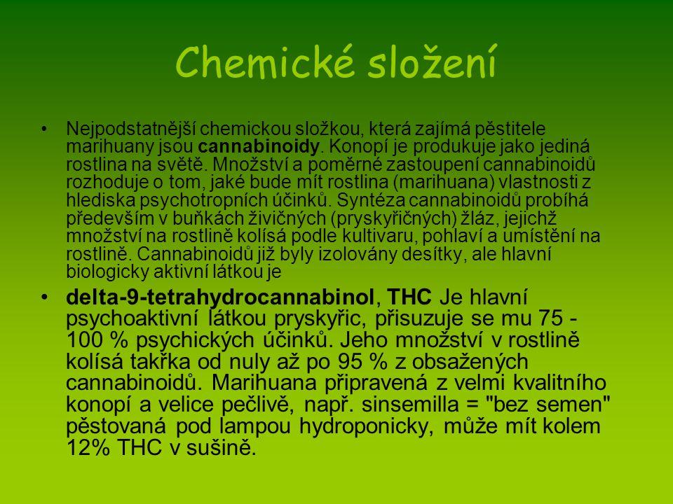 Chemické složení Nejpodstatnější chemickou složkou, která zajímá pěstitele marihuany jsou cannabinoidy. Konopí je produkuje jako jediná rostlina na sv