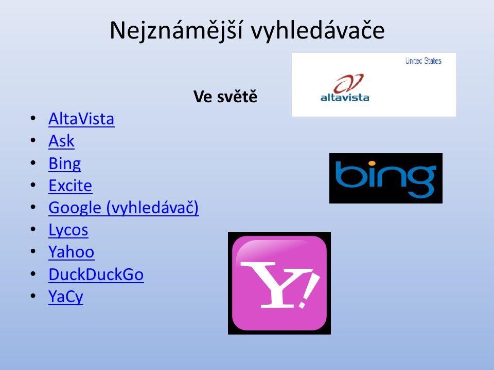 Nejznámější vyhledávače Ve světě AltaVista Ask Bing Excite Google (vyhledávač) Lycos Yahoo DuckDuckGo YaCy