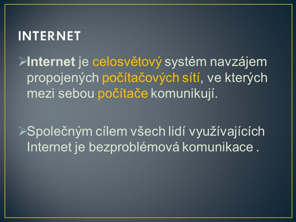  Internet je celosvětový systém navzájem propojených počítačových sítí, ve kterých mezi sebou počítače komunikují.  Společným cílem všech lidí využí