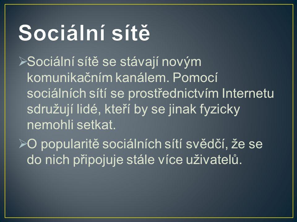  Sociální sítě se stávají novým komunikačním kanálem. Pomocí sociálních sítí se prostřednictvím Internetu sdružují lidé, kteří by se jinak fyzicky ne