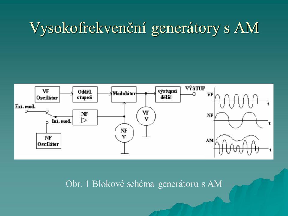 Vysokofrekvenční generátory s AM  Signální generátor AM musí poskytovat vysokofrekvenční modulovaný a nemodulovaný signál jehož frekvenci, amplitudu a hloubku modulace lze ovládat v širokých rozsazích.