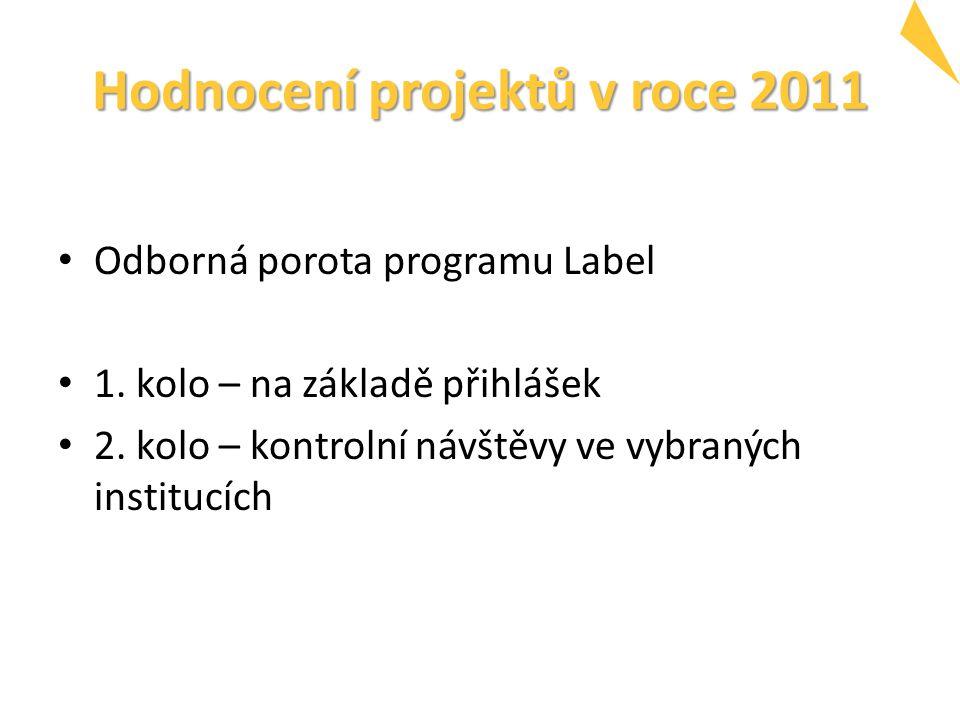 Hodnocení projektů v roce 2011 Odborná porota programu Label 1. kolo – na základě přihlášek 2. kolo – kontrolní návštěvy ve vybraných institucích